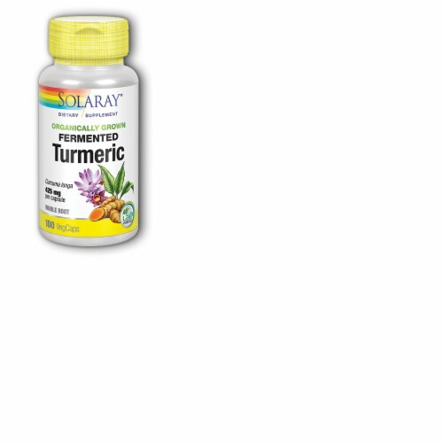 Solaray® Organically Grown Fermented Turmeric 425mg VegCaps Perspective: front