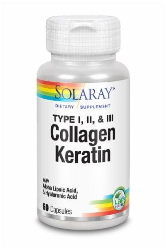 Solaray Type I II & III Collagen Keratin Capsules Perspective: front