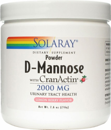 Solaray Lemon Berry Flavor D-Mannose with CranActin Powder Perspective: front