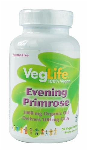 VegLife Evening Primrose Oil Vegan Softgels 1000 mg Perspective: front