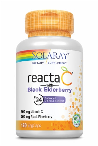 Solaray Reacta-C with Black Elderberry Vegetarian Capsules Perspective: front