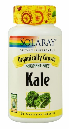 Solaray Organically Grown Kale Vegetarian Capsules Perspective: front