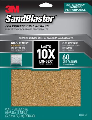 3M SandBlaster 60 Grit Abrasive Sanding Sheet - 4 Pack Perspective: front