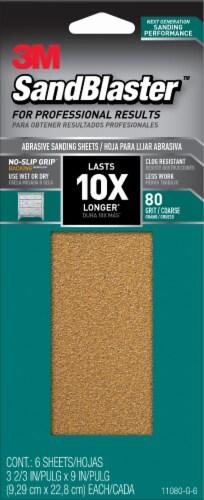 3M SandBlaster 80 Grit Sanding Sheets - 6 Pack Perspective: front