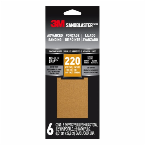 3M SandBlaster 220 Grit Premium Sanding Sheets - 6 Pack Perspective: front