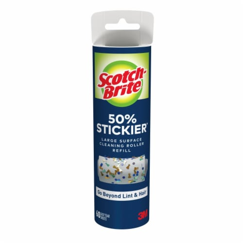 Scotch-Brite™ 50% Stickier Large Surface Lint Roller Refill - 60 Sheets Perspective: front