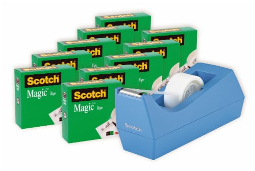 Scotch® Magic™ Tape with Dispenser - 11 pc - Clear/Periwinkle Perspective: front