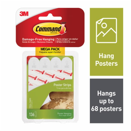 Command™ Poster Strips Mega Pack 136 Pack - White Perspective: front