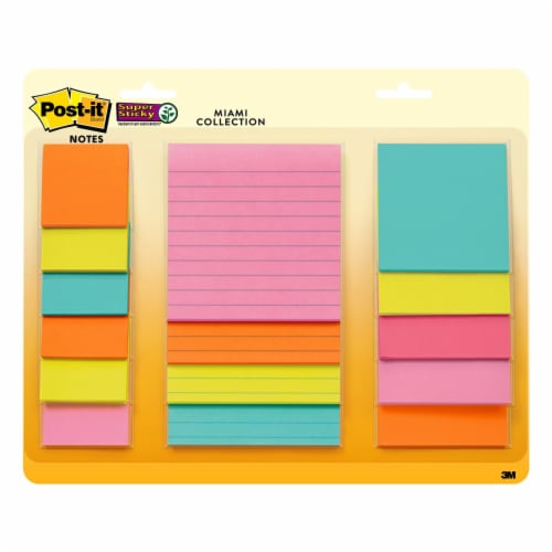 Post-it®  Super Sticky Notes - 15 Pack - Assorted Perspective: front