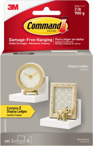 Command™ Damage-Free Hanging Display Ledges - Quartz Perspective: front