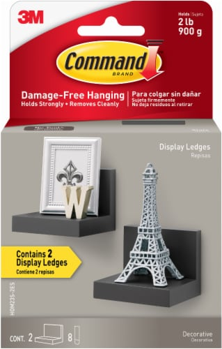 Command™ Damage-Free Hanging Display Ledges - 2 Pack - Slate Perspective: front