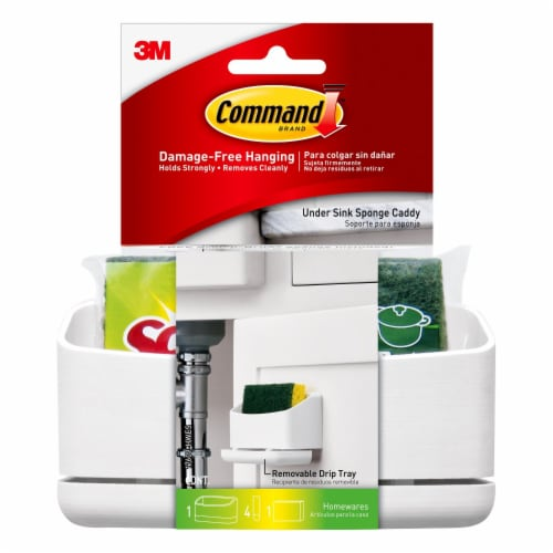 Command™ Damage-Free Hanging Under Sink Sponge Caddy - White Perspective: front