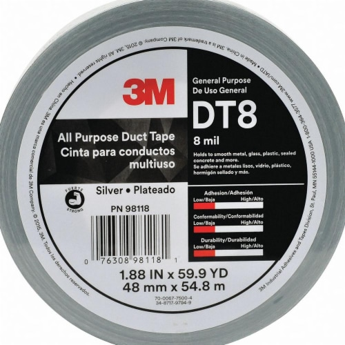 3m Duct Tape,Silver,1 7/8 in x 60 yd,8 mil  DT8 Perspective: front