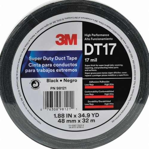 3m Duct Tape,Black,1 7/8 in x 35 yd,17 mil  DT17 Perspective: front
