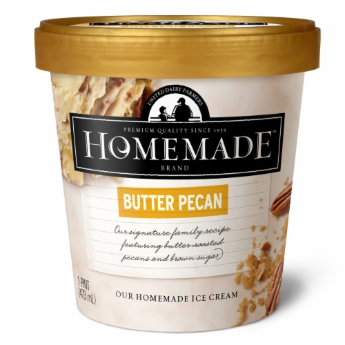 Homemade Brand Butter Pecan Ice Cream Perspective: front