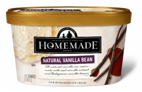 Homemade Brand Natural Vanilla Bean Ice Cream Perspective: front