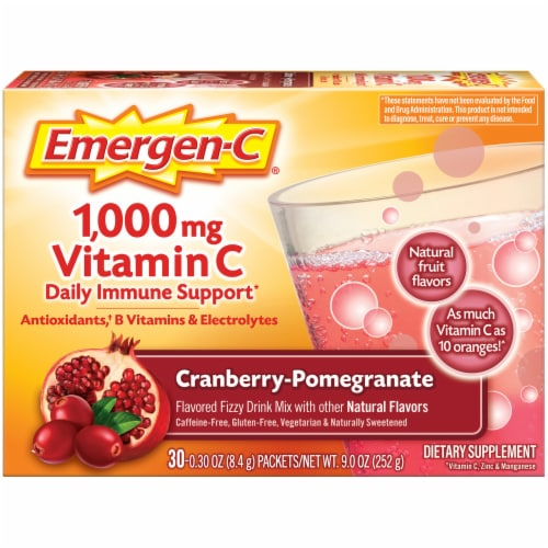 Emergen-C Cranberry-Pomegranate Dietary Supplement Fizzy Drink Mix Perspective: front