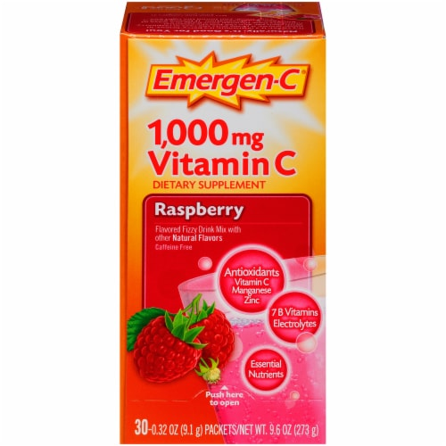Emergen-C Raspberry Vitamin C Immune Supplement Fizzy Drink Mix Packets 1000mg Perspective: front