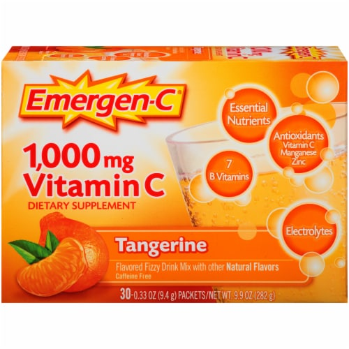 Emergen-C® Tangerine Vitamin C Immune Supplement Fizzy Drink Mix Packets 1000mg Perspective: front