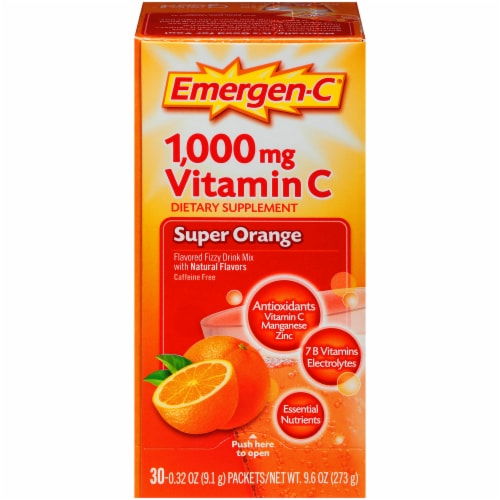 Emergen-C Super Orange Vitamin C Immune Supplement Fizzy Drink Mix Packets 1000mg Perspective: front