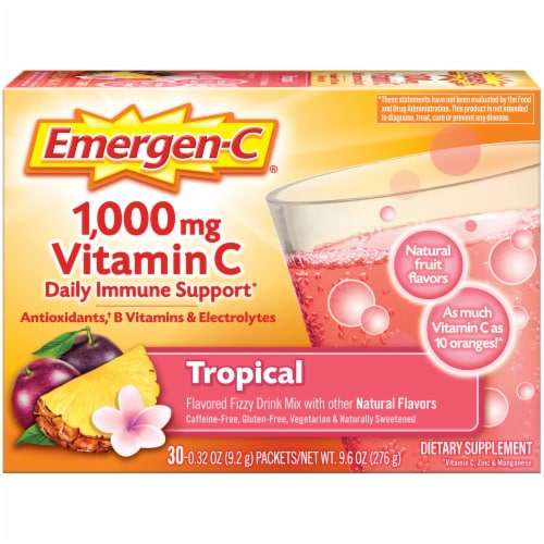 Emergen-C Tropical Dietary Supplement Fizzy Drink Packets Perspective: front