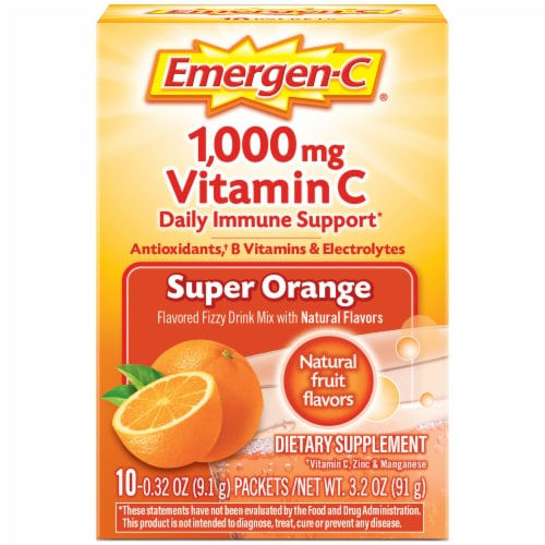Emergen-C Super Orange Dietary Supplement Fizzy Drink 1000mg Mix Packets Perspective: front
