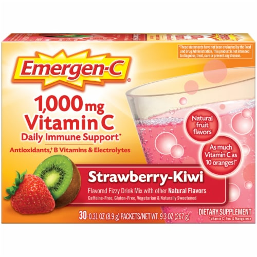 Emergen-C Strawberry-Kiwi Dietary Supplement Fizzy Drink Packets Perspective: front