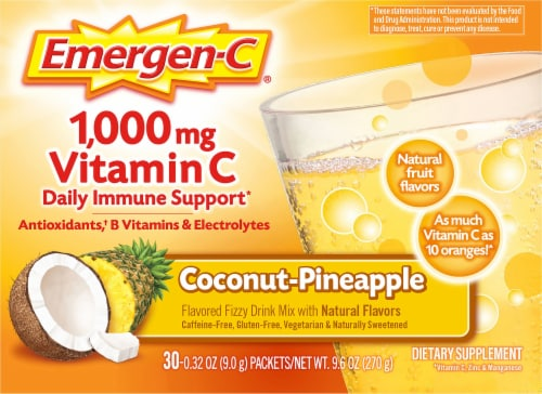 Emergen-C Coconut-Pineapple Dietary Supplement Fizzy Drink Mix Packets Perspective: front