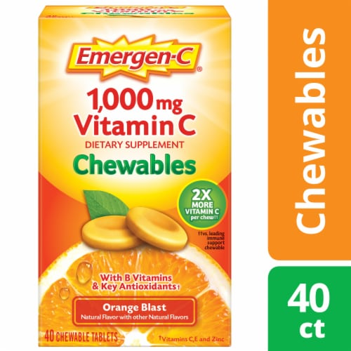 Emergen-C Chewables Orange Blast Dietary Supplement Chewable Tablet Perspective: front