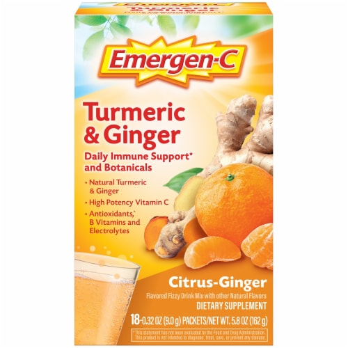 Emergen-C Turmeric & Ginger Citrus-Ginger Dietary Supplement Fizzy Drink Mix Packets 250mg Perspective: front