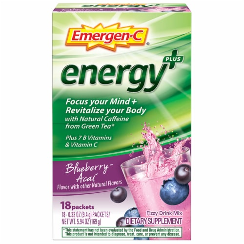 Emergen-C Energy Plus Blueberry-Acai Caffeine Fizzy Drink Mix Packets Perspective: front