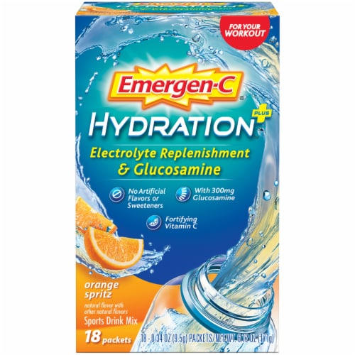 Emergen-C Hydration+ Electrolyte Replenishment Orange Sports Drink Mix Packets Perspective: front