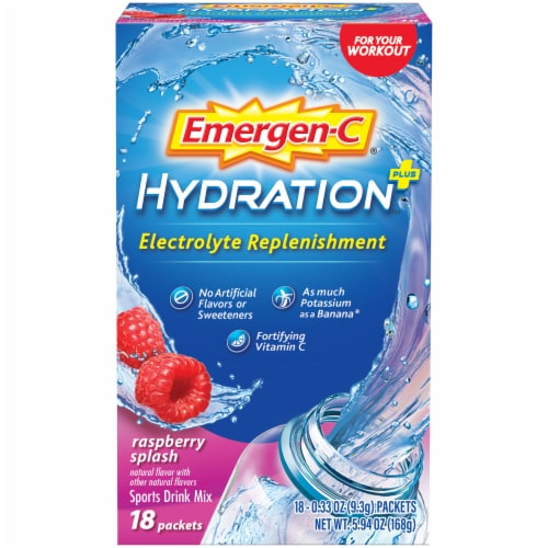 Emergen-C Hydration+ Electrolyte Replenishment Raspberry Splash Sports Drink Mix Packets Perspective: front