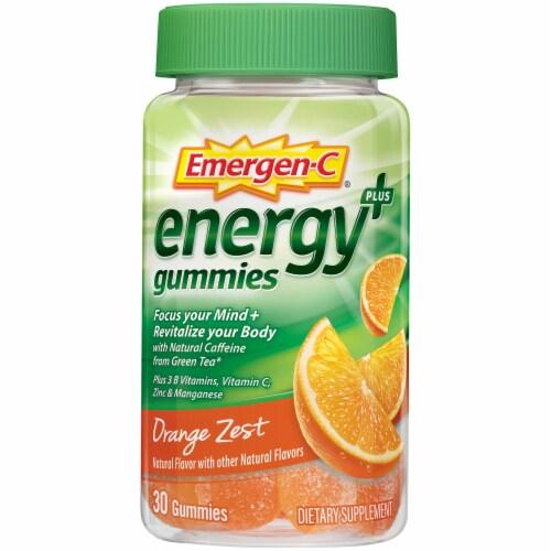 Emergen-C Energy Plus Orange Zest Natural Caffeine Dietary Supplement Gummies Perspective: front