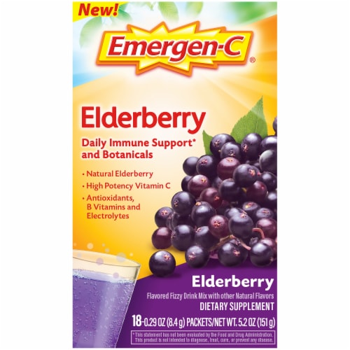 Emergen-C Elderberry Daily Immune Support Dietary Supplement Fizzy Drink Mix Packets 18 Count Perspective: front