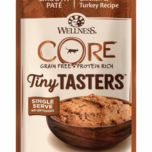 Wellpet WP16105 1.75 oz Wellness Core Tiny Tasters Chicken & Turkey Pouch Cat Food Perspective: front
