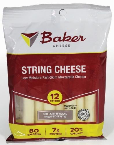 Baker Cheese Part-Skim Mozzarella String Cheese Perspective: front