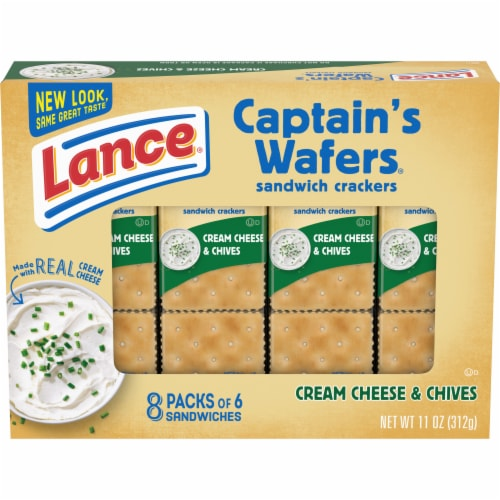 Lance Captain's Wafers Cream Cheese and Chive Sandwich Crackers Perspective: front