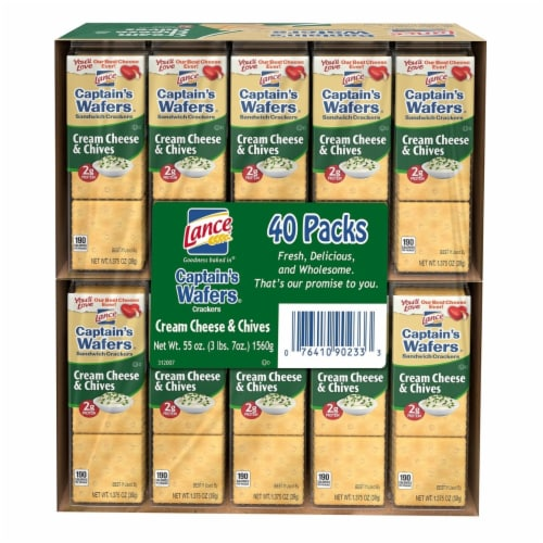 Lance Captain's Wafers Cream Cheese and Chives (40 Pack) Perspective: front