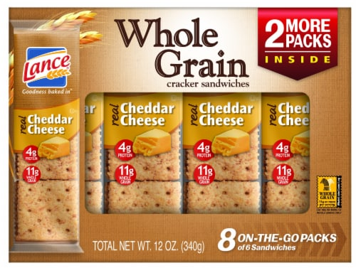 Lance Real Cheddar Cheese Whole Grain Sandwich Crackers Perspective: front