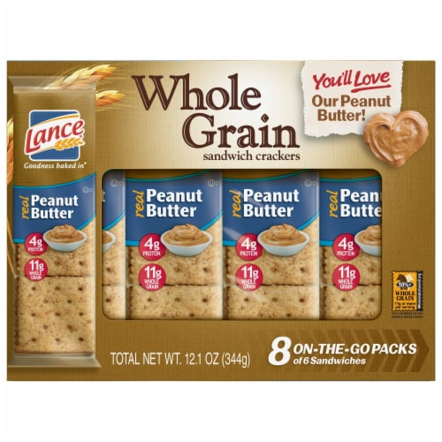 Lance Real Peanut Butter Whole Grain Sandwich Crackers Perspective: front
