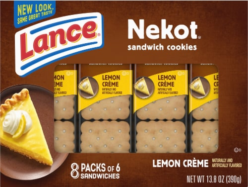 Lance Nekot Lemon Creme Filling Cookie Sandwiches Perspective: front