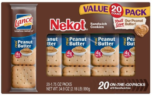 Lance Nekot Real Peanut Butter Cookie Sandwiches 20 Count Perspective: front