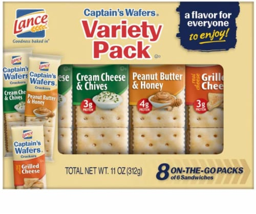Lance Captains Wafers Sandwich Crackers Variety Pack 8 Count Perspective: front