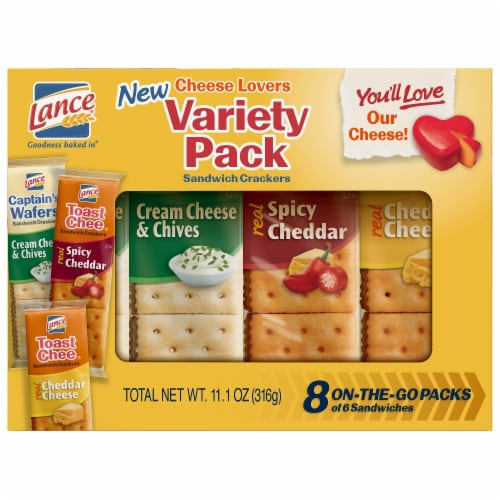 Lance Cheese Lovers Sandwich Crackers 8 Count Perspective: front