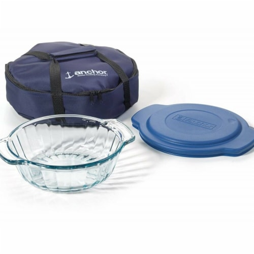 Anchor Hocking 13372AHG17 2 qt. Casserole Dish with Lid & Tote - 3 Piece Perspective: front