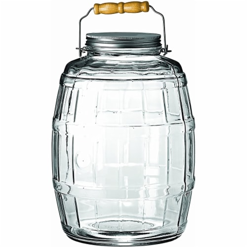 Anchor Hocking Barrel Jar with Brushed Aluminum Lid - Clear/Silver Perspective: front