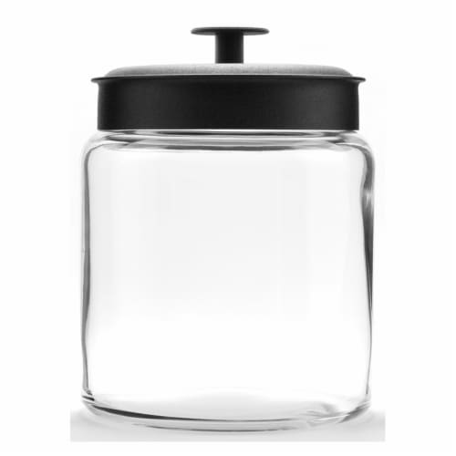 Anchor Hocking Mini Montana Jar With Black Lid Perspective: front
