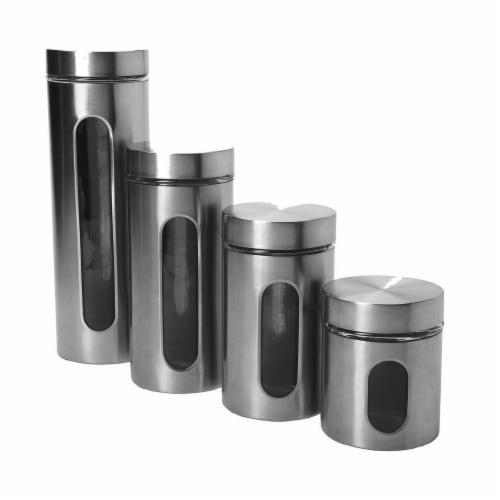 Anchor Windowed Cylinder Stainless Steel Food Storage Set - Palladian Brushed Perspective: front