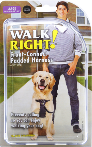 Walk Right! Large Black Front-Connect Padded Harness Perspective: front